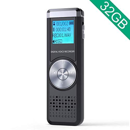 32GB Grabadora de Voz Digital, ADOKEY Grabadora Audio con Reproductor de MP3, Portatil Grabadora Sonido Grabadora Estereo Grabadora para Reuniones, Musica Micrófono Incorporado, Baterías Recargables