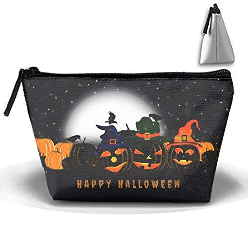 Happy Halloween Night Multifunktionale Trapez-Aufbewahrungstasche Travel Cosmetic Bag