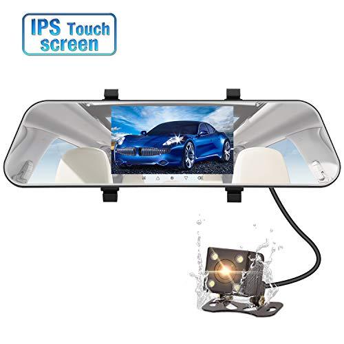 PUMPKIN Autokamera Rückspiegel Dashcam Kamera Set IPS Touchscreen 1080P Frontkamera und 720P Rückfahrkamera Mit G-Sensor/Loop-Aufnahme/Bewegungserkennung/Nachtsicht/Parkhilfe