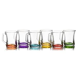 Lav COLOURED SET OF 6 GLASSES TEA COFFEE CAPPUCCINO CUPS HOT DRINK MUGS
