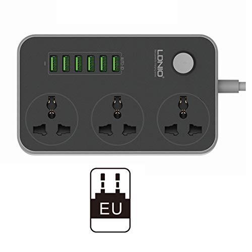 3 Outlets 6 USB-Anschlüsse USB Power Strip Smart Home Buchse Überspannungsschutz Schnellladehauserweiterung Patch-Brett EU/US/UK (Farbe: schwarz-weiß)