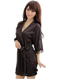 Demarkt® Sexy Robe de Nuit en Satin Femme Pyjamas Robe Peignoirs avec une Ceinture Élégante - Taille Unique - Couleur Noir