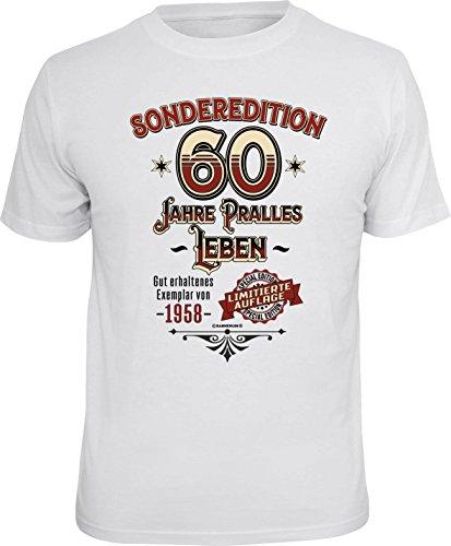 RAHMENLOS Original Geschenk T-Shirt zum 60. Geburtstag: Sonderedition pralles Leben 1958 L