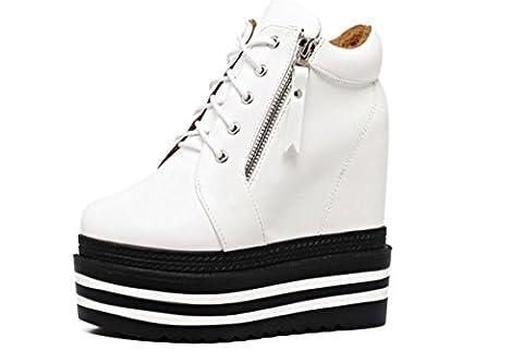 Femmes Nouveaux Bottes sauvages sauvages confortables Talon compensé Chaussures épaisses épaisses rondes Chaussures rondes Chaussures à lacets Plate-forme automne Hiver Discothèque Fête Travail , White , EUR 37/ UK 4.5-5