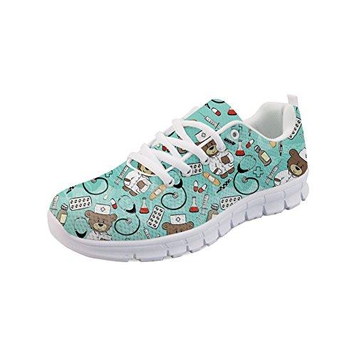 Showudesigns Women Lace-up Running Sneaker Woman Blue Platform Lightweight Sport Shoes -