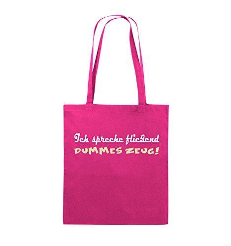 Borse Da Commedia - Parlo Roba Scioccamente Stupida! - Iuta - Manico Lungo - 38x42cm - Colore: Nero / Bianco-rosa Neon / Rosa-bianco-beige