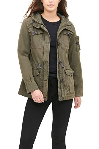 Levi's Women's Cotton Four Pocket Hooded Field Jacket, Army Green, S