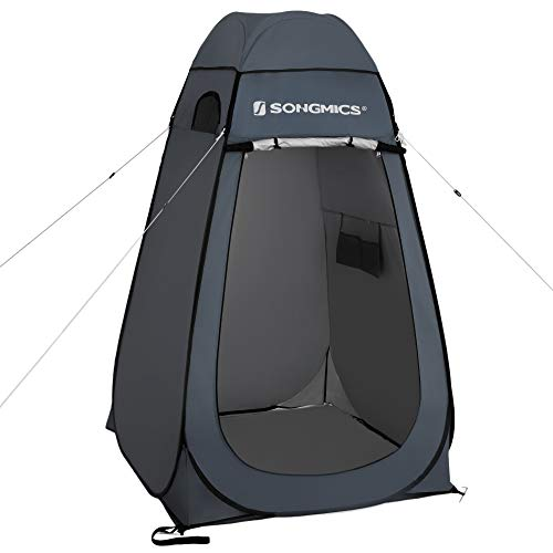 SONGMICS Pop-Up-Zelt, Outdoorzelt, Umkleidezelt, Sichtschutz für Outdoor, Camping, Angeln, Strand, Dusche, Toilette, Tragetasche mit Reißverschluss, dunkelgrau GPT01GY