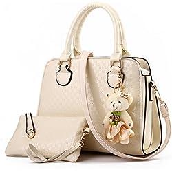 Tisdaini Señoras bolso bolsa de moda bolsa de hombro Messenger bolso señoras retro billetera oso colgante