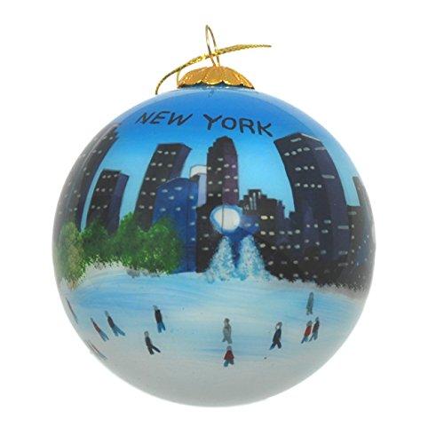 Eislaufen in New York Glas Ornament