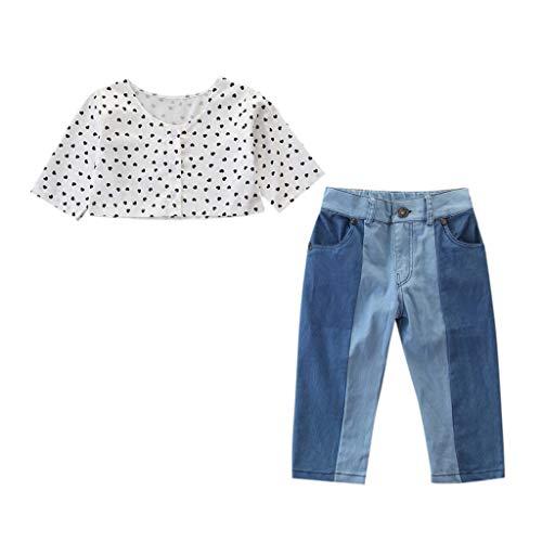 SCEMARK Mädchen Kleidung Sets, Kleinkind Kinder Baby Mädchen Outfits Kleidung Liebe Print Shirt Crop Top + Jeans Hosen Set -
