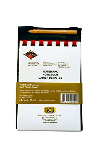 BCB CD445 Waterproof Notebook With Plastic Cover & Pencil