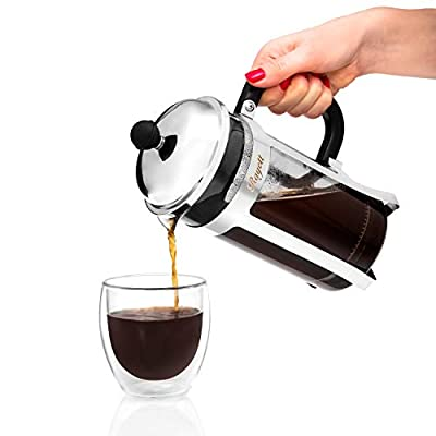 Rayett French Press Coffee Maker, 1 Litre/ 34 oz/ 8 Cup Stainless Steel Cafetiere with 3 Additional Coffee Filters
