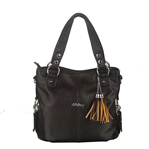 koson-man-womens-new-style-soft-pu-leather-vintage-tassels-ornaments-tote-bags-shoulder-bagsblack