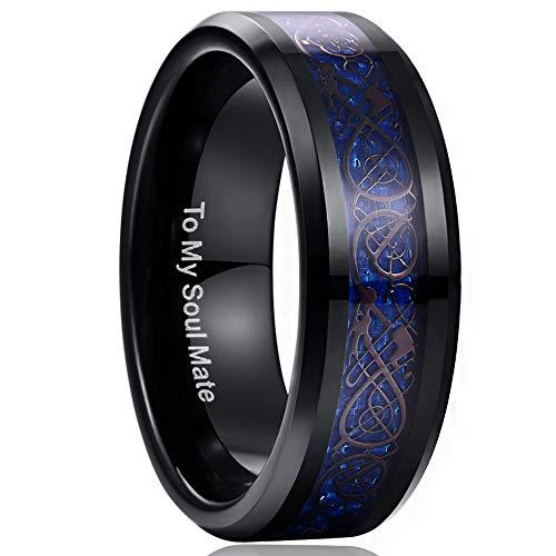 Herren Damen Unisex Keltische Drachen 8mm Schwarz + Kohlefasern Saphirblau für Fashion Hochzeit Verlobung Geeschenk Größe 62 (22) ()