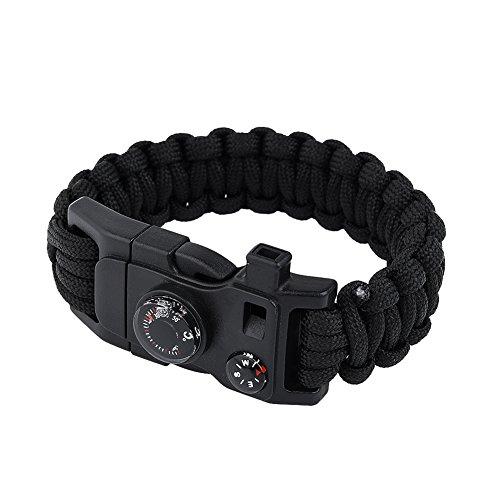 RUNACC Multifunktionale Survival Armband Paracord Survival Armband Praktische Notfall Armband mit Multitool Feuerstahl Minimesser Kompass 8 in 1 mit geeignet für Notfall Survival, Schwarz