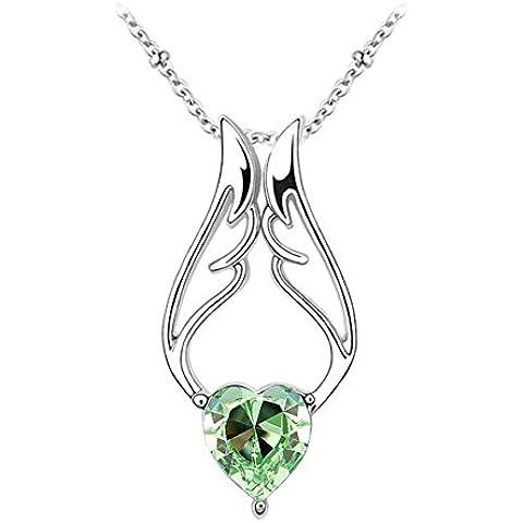 Le Premium® - angelo ala cuore Collana pendente di cristallo Cuore a forma di SWAROVSKI Peridot verde cristallo