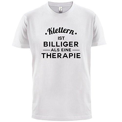 Klettern ist billiger als eine Therapie - Herren T-Shirt - 13 Farben Weiß