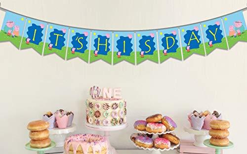 Ideas from Boston Peppa Wutz-Banner, It's HIS Day Peppa Wutz-Geburtstagsparty-Spruchband, Party-Zubehör für Jungen, Schweine-Motto Happy Birthday