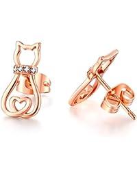 Orecchini a forma di gatto con cuore, oro rosa