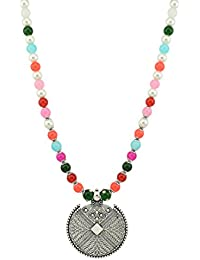 High Trendz Oxodised Silver Metal Gypsy Style Pendant With Multi Colored Beads Necklace Women And Girls