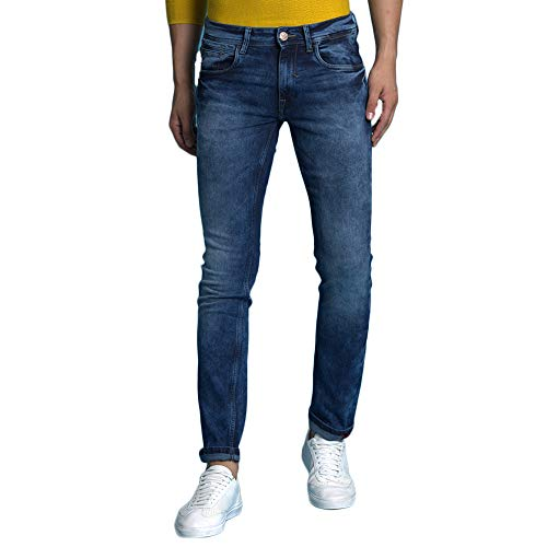 TURMS Men's Denim Stain Repellent and Odour-free Slim Fit Jeans (Mid Blue, 38)