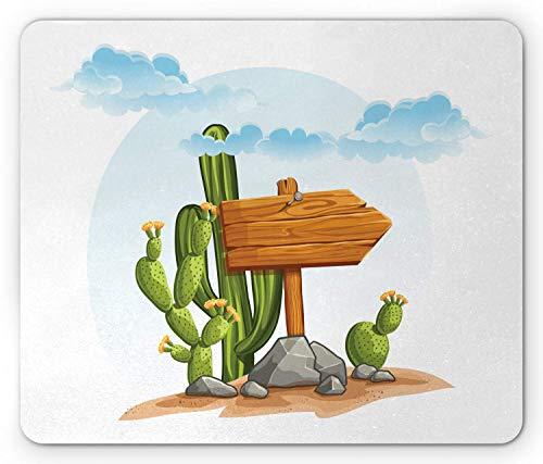 Kaktus-Mausunterlage, Cartoon-Art-trockene Landpflanzen mit blühenden Blumen genagelte hölzernes Zeichen auf Felsen, Standardgrößen-Rechteck-rutschfestes Gummimousepad, Mehrfarben,Gummimatte 11,8'x 9