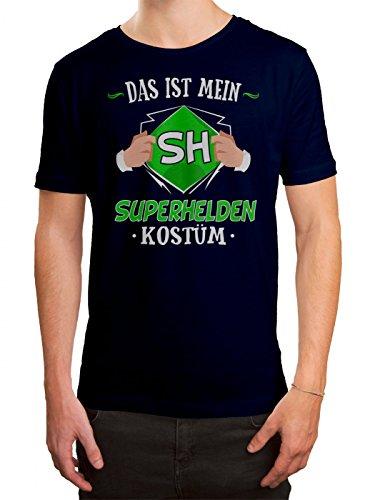 (Kostüm Superheld Premium T-Shirt Verkleidung Karneval Fasching Herren Shirt, Farbe:Dunkelblau (French Navy L190);Größe:S)