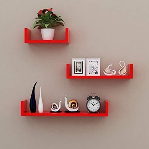 Willesego Wandregal TV Hintergrund Wanddekoration Bücherregal Wandpartition Schlafzimmer Wohnzimmer U-Typ Lagerung Displayständer 3 Stück (Größe: 30 cm, 40 cm, 50 cm) (Farbe : Rot, Größe : -) -