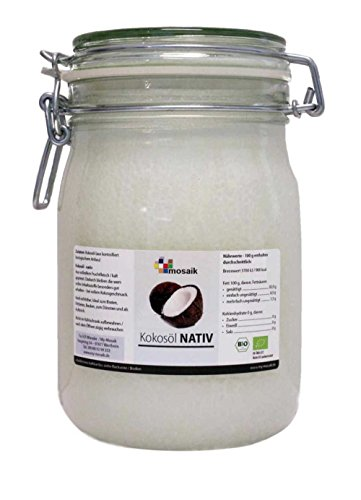 my-mosaik Bio Kokosöl nativ (1000ml Bügelglas) kaltgepresst, zum Kochen und Backen, naturbelassen, ohne Zusatzstoffe, angenehmer Kokosgeschmack, zur Haut-und Haarpflege geeignet
