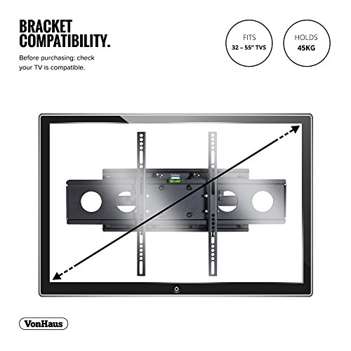 """VonHaus 32-55"""" Double Arm Tilt & Swivel TV Wall Mount Bracket with Built-In Spirit Level for LED, LCD, 3D, Curved, Plasma, Flat Screen Televisions - Super Strong 45kg Weight Capacity"""