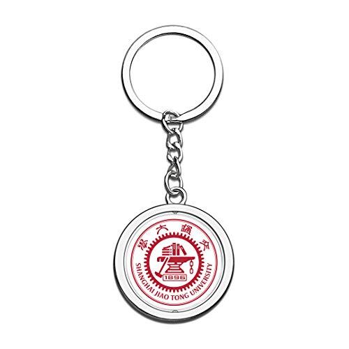 hai Jiao Tong University SJTU Abzeichen Schlüsselbund 3D Kristall Kreative Spinning Runde Edelstahl Schlüsselanhänger Souvenir Schlüsselanhänger Ring ()