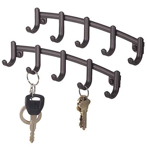 mDesign 2er-Set Hakenleiste – schmale Wandgarderobe mit 5 Garderobenhaken – Haken aus Metall – zur Aufbewahrung von Schlüsseln, Schals, Handtüchern, Geschirrtüchern – bronzefarben