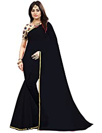 High Glitz Fashion Women's Cotton Chanderi Saree with Blouse Piece (Black, Free Size)