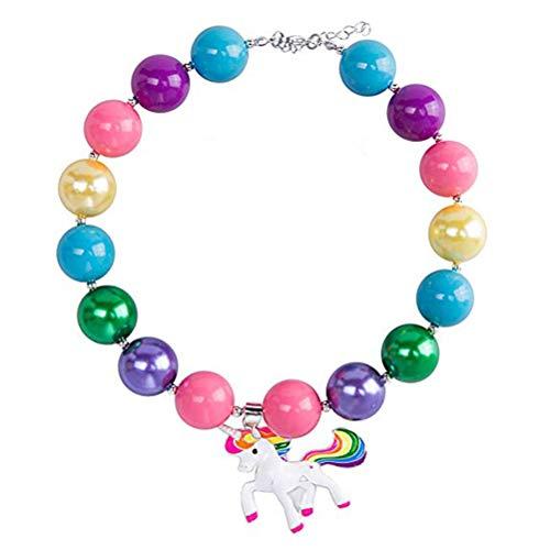 Schmuckset, Prinzessin Halskette Einhorn Anhänger Perlen Halskette Modeschmuck Geschenk für Kinder
