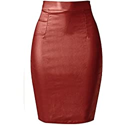 80Store Mujer Moda Falso Cuero Lápiz Bodycon Oficina Formal Alto Cintura Midi Falda (S, Vino rojo)