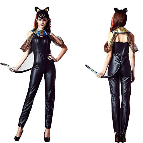 XGNL Damen Sexy Lack Leder Lingerie Wet Look Catsuit Halloween Cosplay Katzenfrau Kleidung,XL
