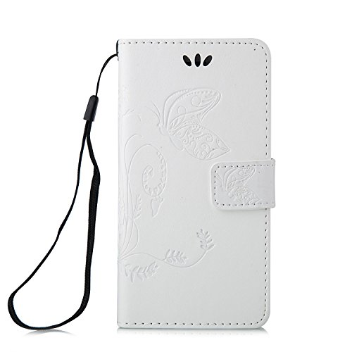 TOCASO Blau PU Leder Schmetterling Blumen Schutzhülle für iPhone 6s Hülle [Strap] Flip Wallet Case,Build-in Stand Hüllen Portable Handyhülle Anti-Scratch [ID Card Slot] Magnetverschluss Soft Silikon B White