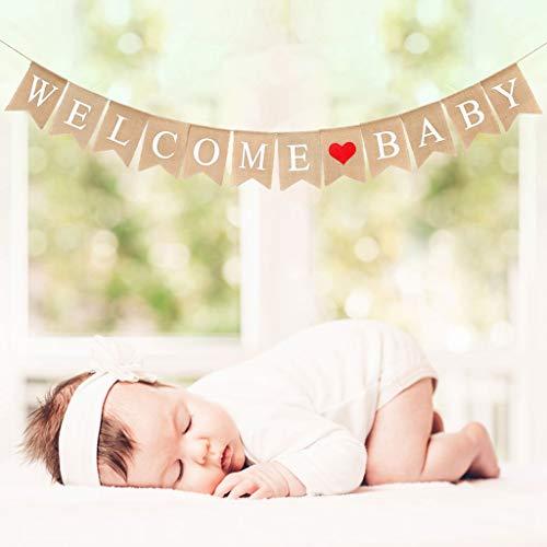 en Welcome Baby Banner Rustikal Leinen Buchstaben Wimpel Girlande 2.8 M Haus Dekoration für Zuhause, Party, Empfang, Babyparty Rustikal Bunting Wimpelkette mit 12 STK Wimpeln ()