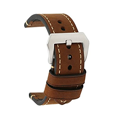 omyzam Watch Strap Vintage Genuine Leather Replacement Band Large Stainless Steel Buckle Fit for Traditional Watch, Sports Watch or Smart Watch 24mm Brown