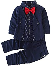 Si Noir by Hopscotch Boys Cotton Blazer Style Shirt and Pant Set in Navy Colour