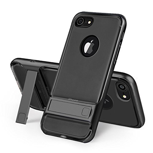 iPhone 7, iPhone 7, Trasparente Ultra Sottile Custodia Cover [Crystal Clear] KIO TPU trasparente Custodia in silicone Case con integrato Kick Stand per Apple Iphone 7 iPhone 7 bianco nero