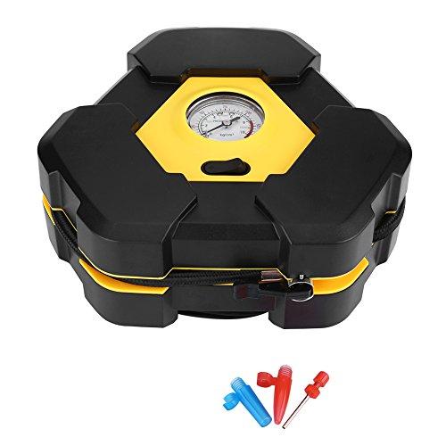Kit di gonfiaggio pneumatici per auto, attrezzo per compressore d'aria portatile per auto 12V con indicatore di ago per bici da corsa con 3 adattatori