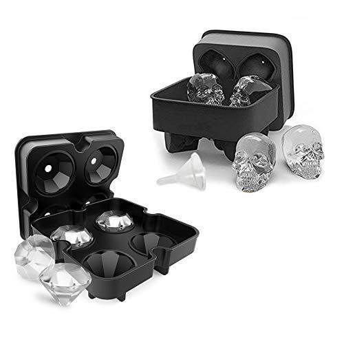 AuSincere Bandejas de cubitos de hielo grandes, juego de 2 moldes de cubitos de hielo de silicona, cráneo 3D, moldes de congeladores en forma de diamante, liberación fácil para whisky, cócteles, coque, sin BPA, negro