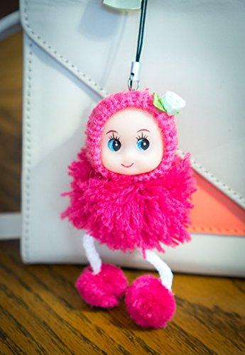 Punk School Girl (Cute Snug Cozy Puppe Wolle Pompon Spielzeug Charm Schlüsselanhänger Schlüsselanhänger flauschig weich Baumwolle Knit Hat Gem D Mist d-dung Sweet außergewöhnliche Innocent Hipster, cherry)