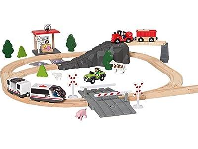 Playtive® Junior Holz Eisenbahn elektrische Bahn 80 tlg Set 279584 von Delta Sport Handelskontor GmbH