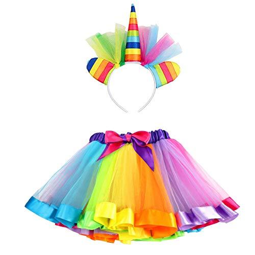 VAMEI TüTü Kinder Einhorn Haarreif TüTü Rock für Kleinkind Mädchen Ballett Kostüm Fotos mit Einhorn Blume Stirnband für Little Pony Dress Up Regenbogen - Nicht Dress Up Kostüm
