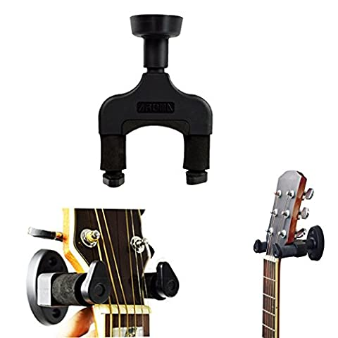 Guitar Hanger Rack Hook Holder Wall Mount Bracket Keeper Home & Studio Display Fits All Size Guitar, Acoustic, Bass, Mandolin, Banjo Easy Installation Compact plastic silicone black - by LC Prime®