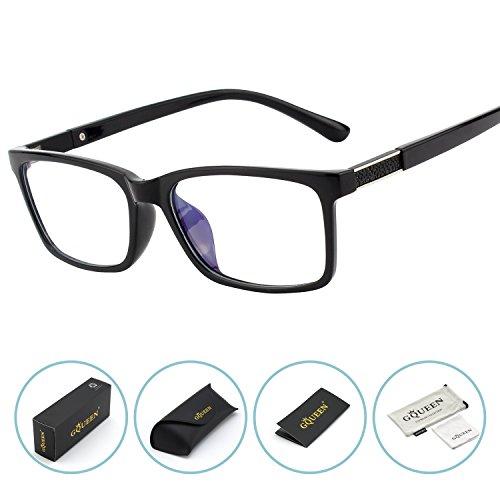 GQUEEN Blaues Licht, das Computer-Gläser, Anti-Glare-Augen-Ermüdung mit TR90 blockiert, Rahmen-transparente Linse, GQ07 (Blauer Rahmen-brillen)