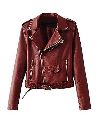 Femme Pu Cuir Courte Veste Biker Avec Ceinture Et Fermeture Éclair Slim Jacket Vin Rouge S